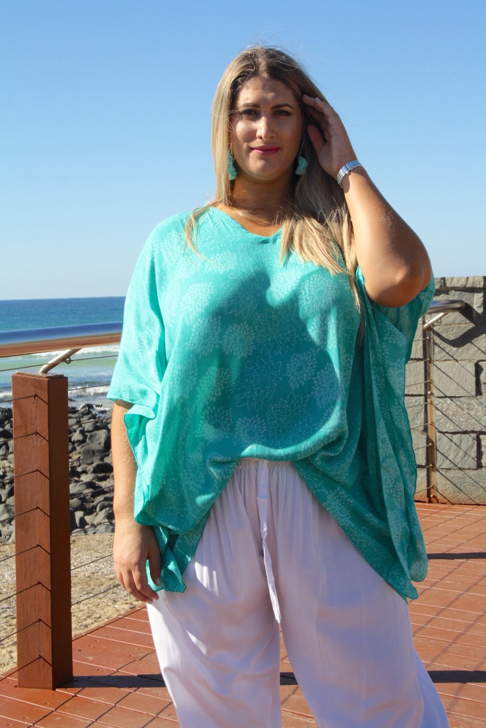Short Tunic - Aqua Green White Flower