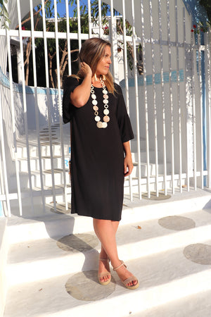 RO Corinth Dress In Black Jersey
