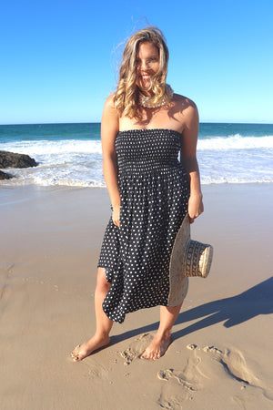 Strapless Stretchy Polka Dot Dress/Skirt In Black