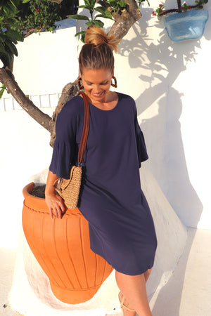 RO Corinth Dress In Navy Jersey