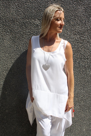 Rock Pool Long Singlet Top - White