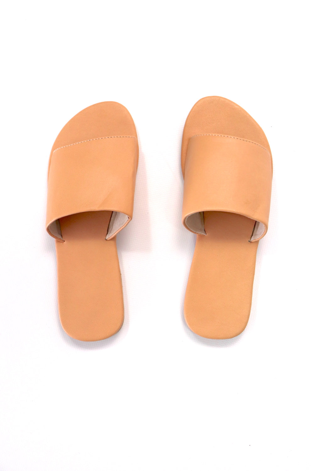 Plain Leather Slides In Skin