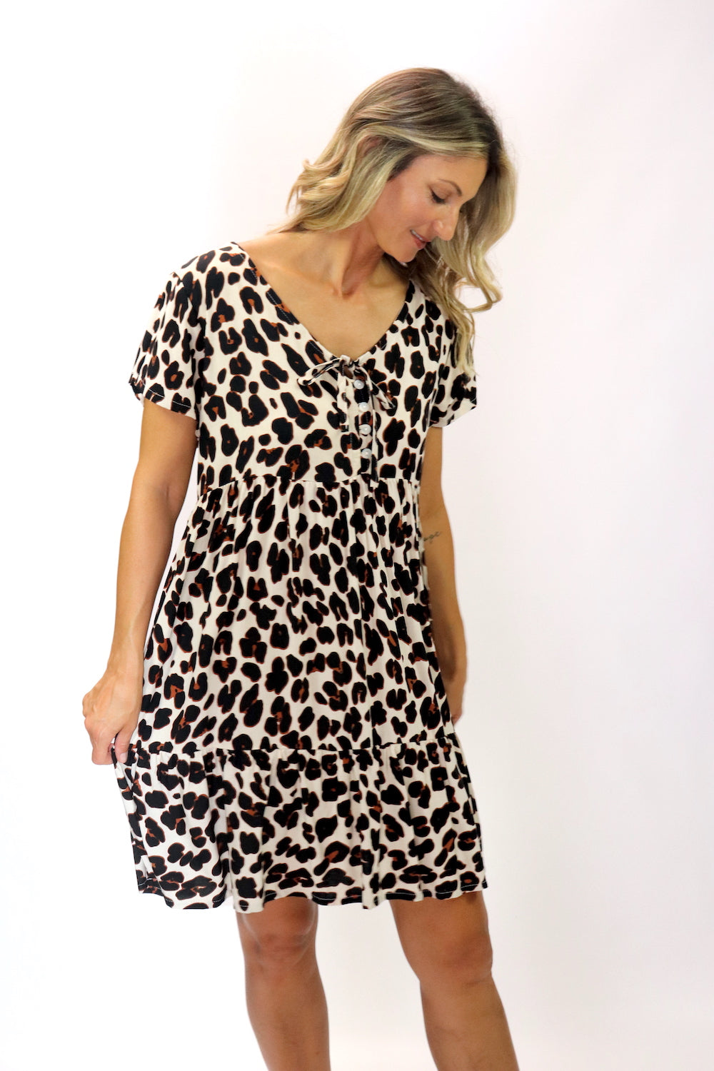 Baby Doll Button Up Dress In Black Jaguar