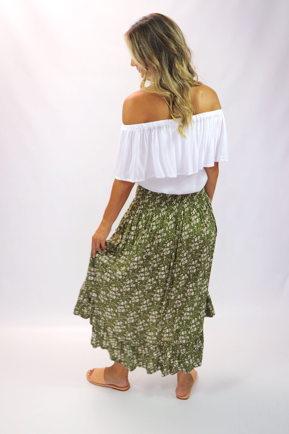 Long Bohemian Skirt In Olive Flower