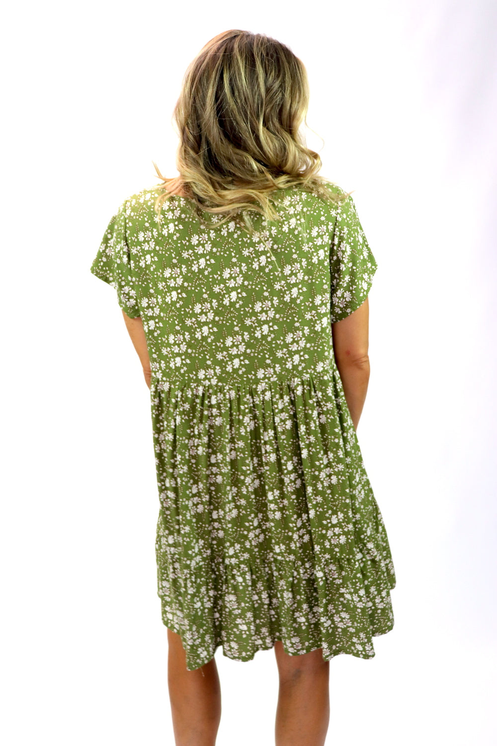 Baby Doll Button Up Dress In Olive Flower