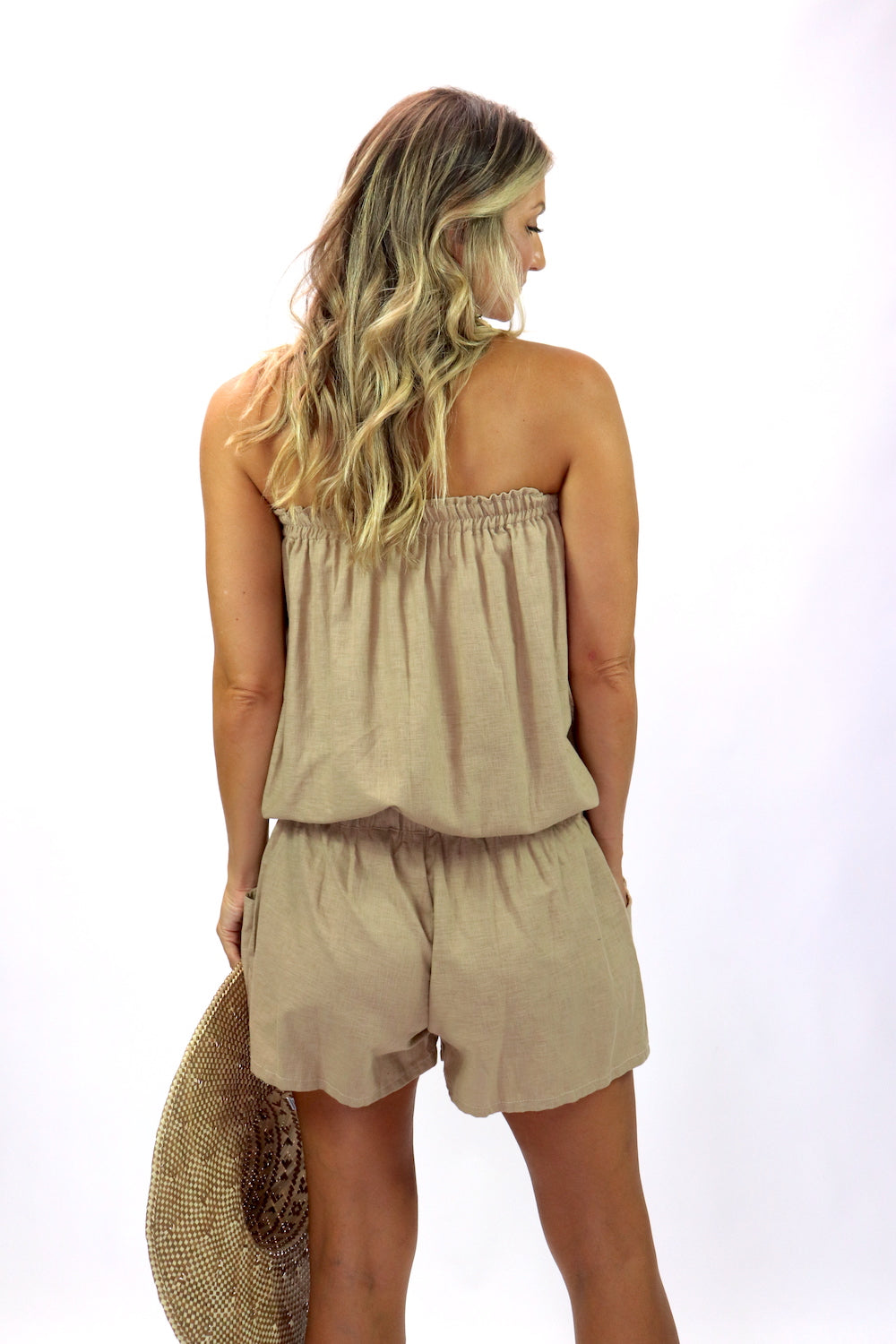 Maldives Short Jumpsuit In Stone 100% Cotton