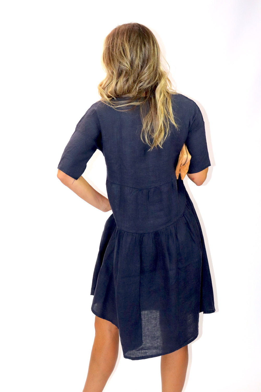 Sorrento Linen Dress In Navy