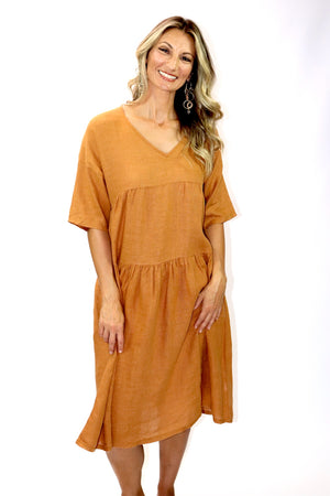 Sorrento Linen Dress In Red Earth