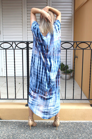 Island Holiday High Low Dress In Blue Splash