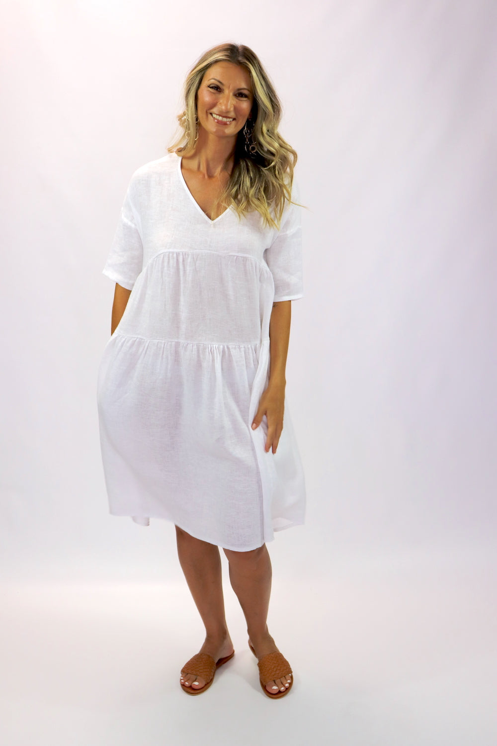 Sorrento Linen Dress In White