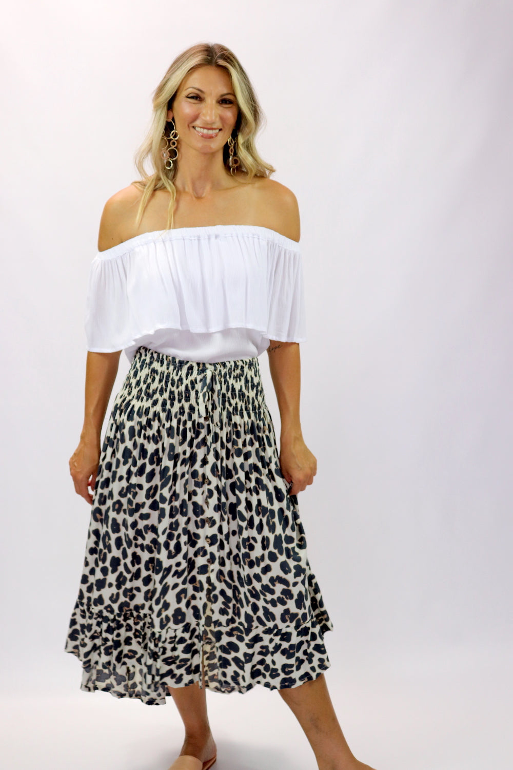 Long Bohemian Skirt In Grey Jaguar