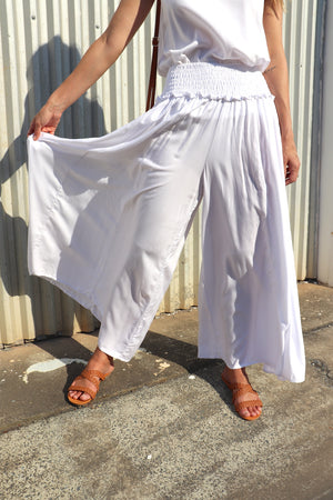 RO Caribbean Long Wide Leg Pant In White