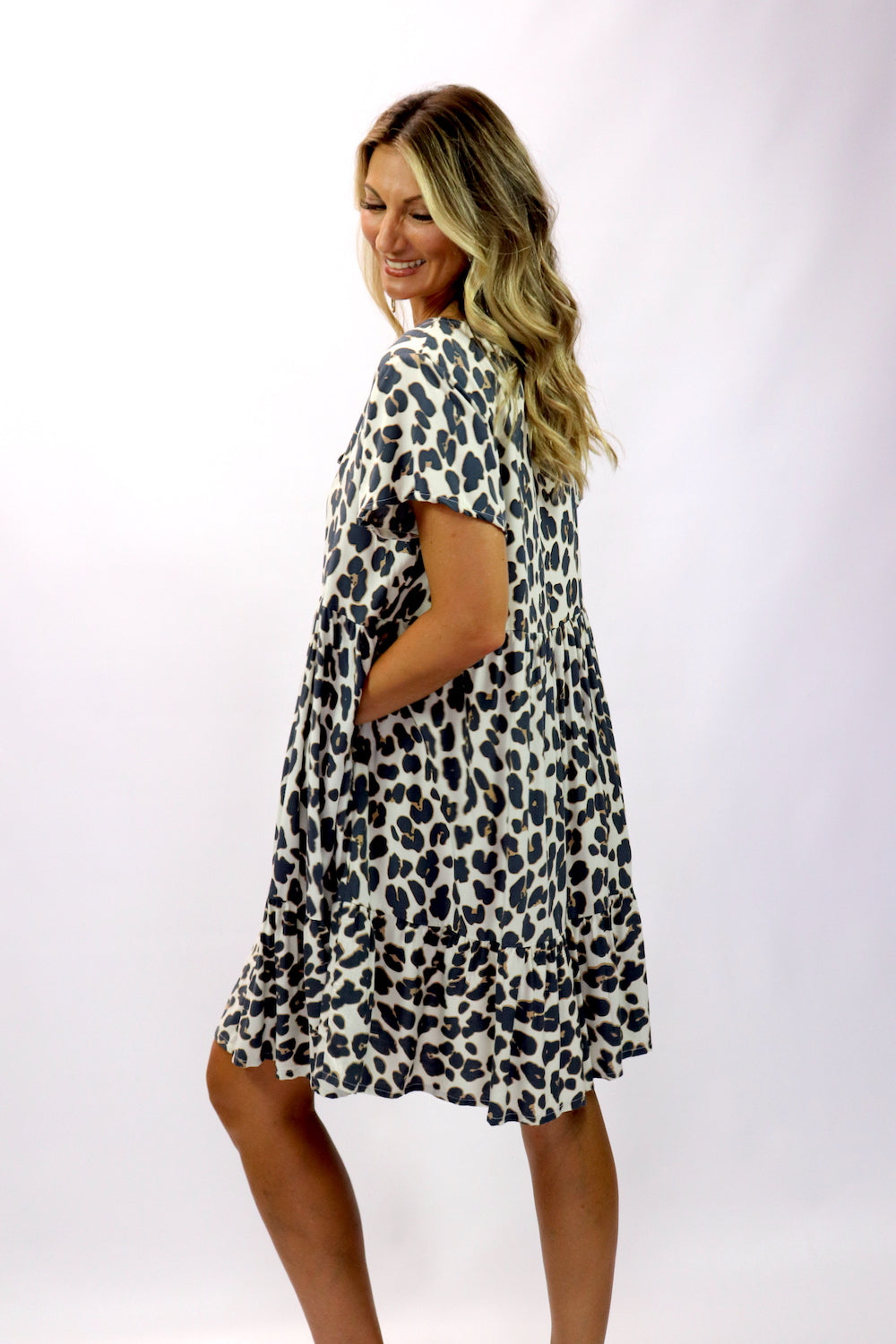 Baby Doll Button Up Dress In Grey Jaguar