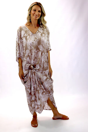 Long Kaftan In Taupe Feathers
