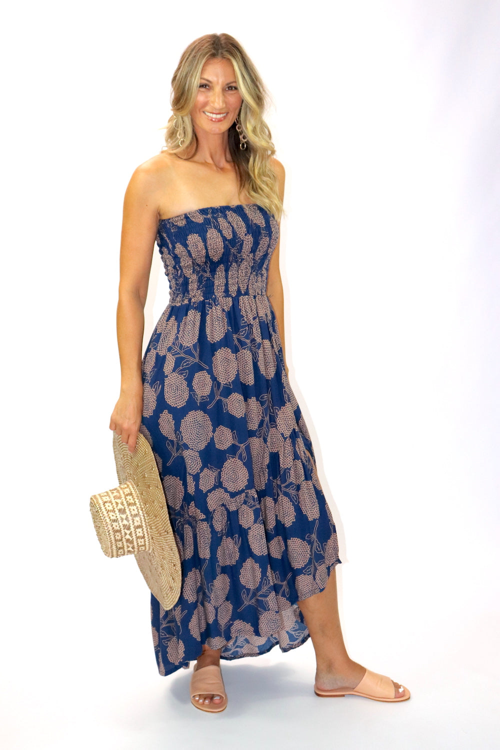 Florence Strapless Dress In Blue Tea
