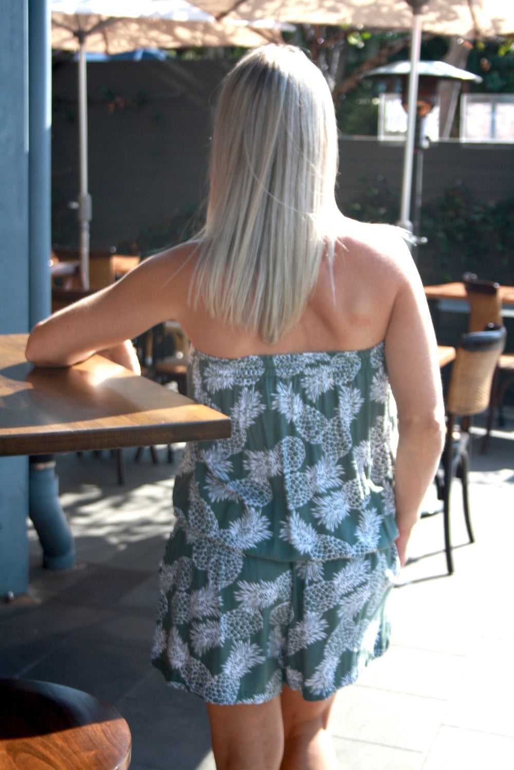 Maldives Short Jumpsuit - Olive Pineapples