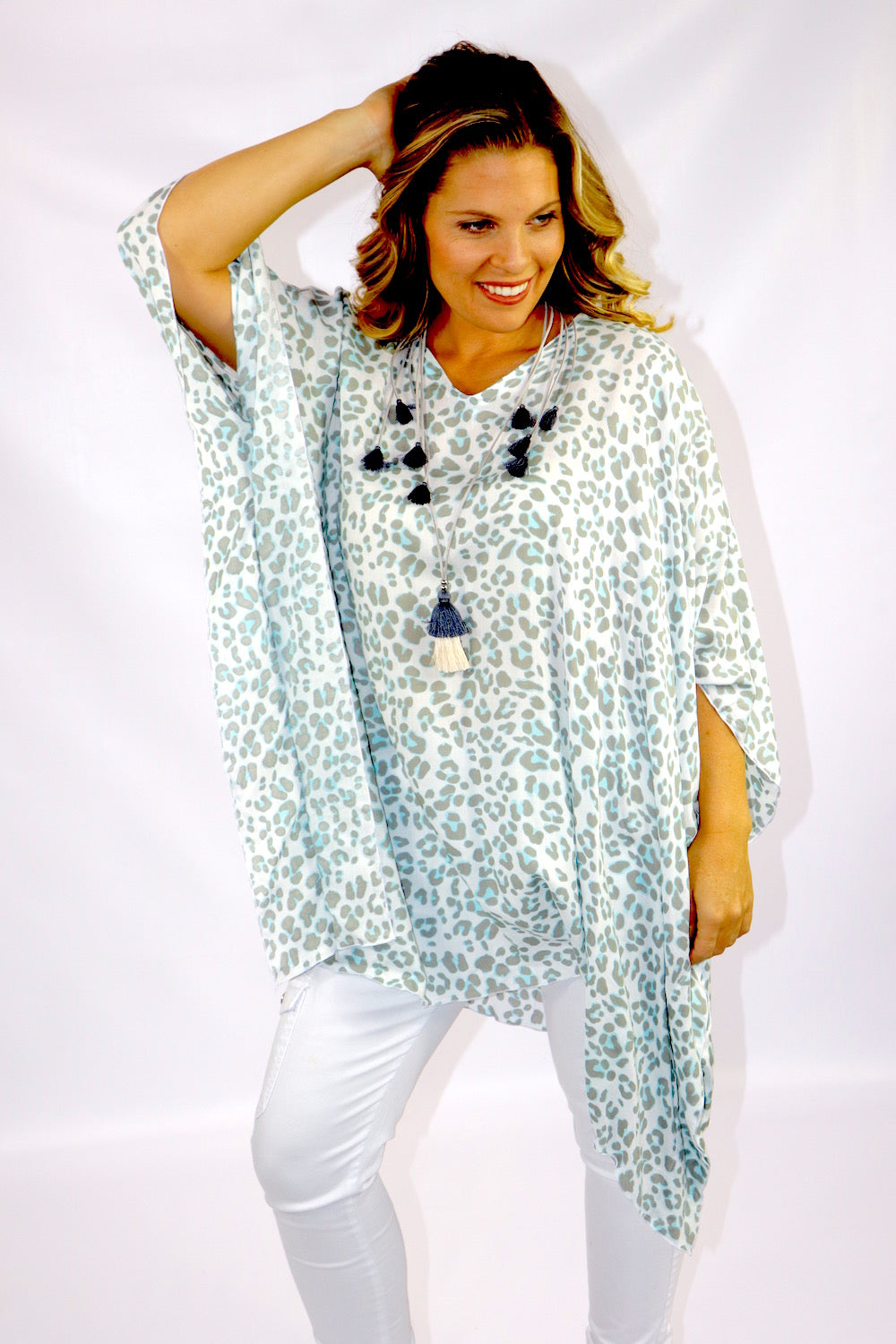 Short Tunic In Sky Blue Animal