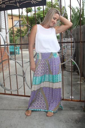Merci Maxi Skirt - Purple Diamond