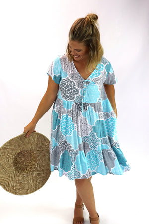Baby Doll Button Up Dress In Blue Cobblestone