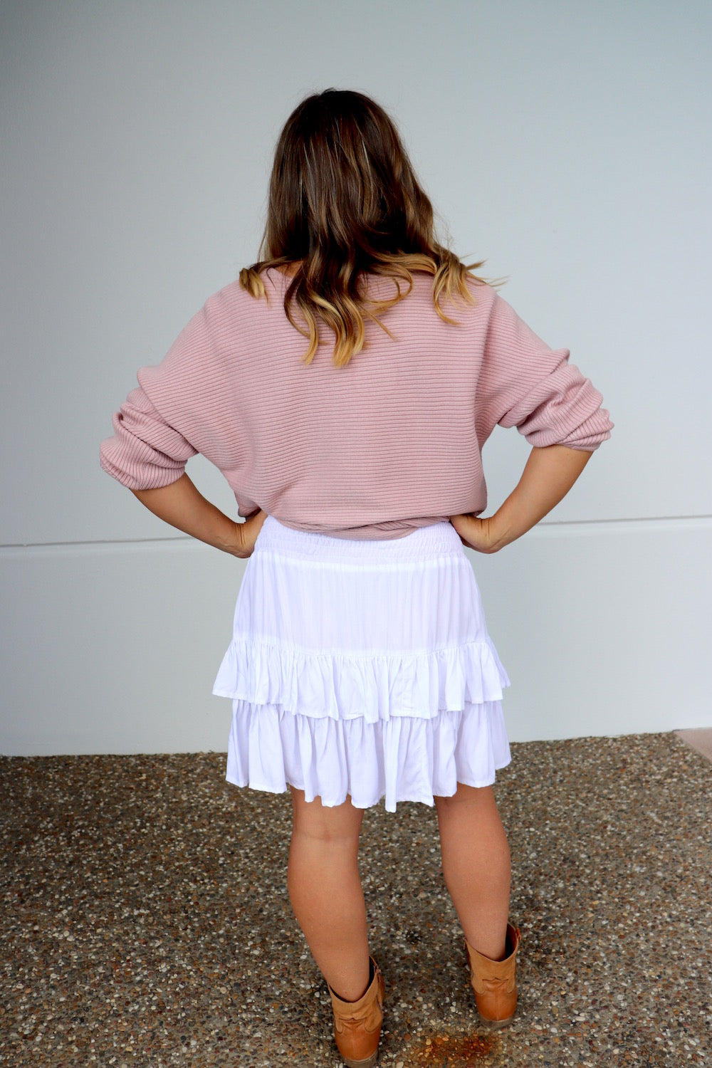 Ripple Effect Mini Skirt In White