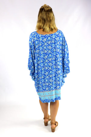 Set Free Batwing Top/Dress In Blue Fields