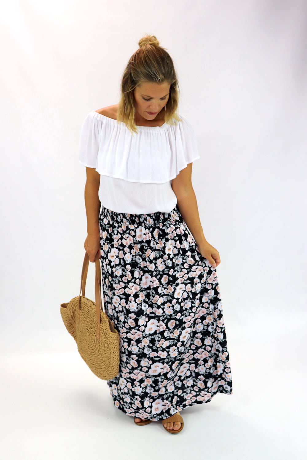 Merci Maxi Skirt In Black Poppy