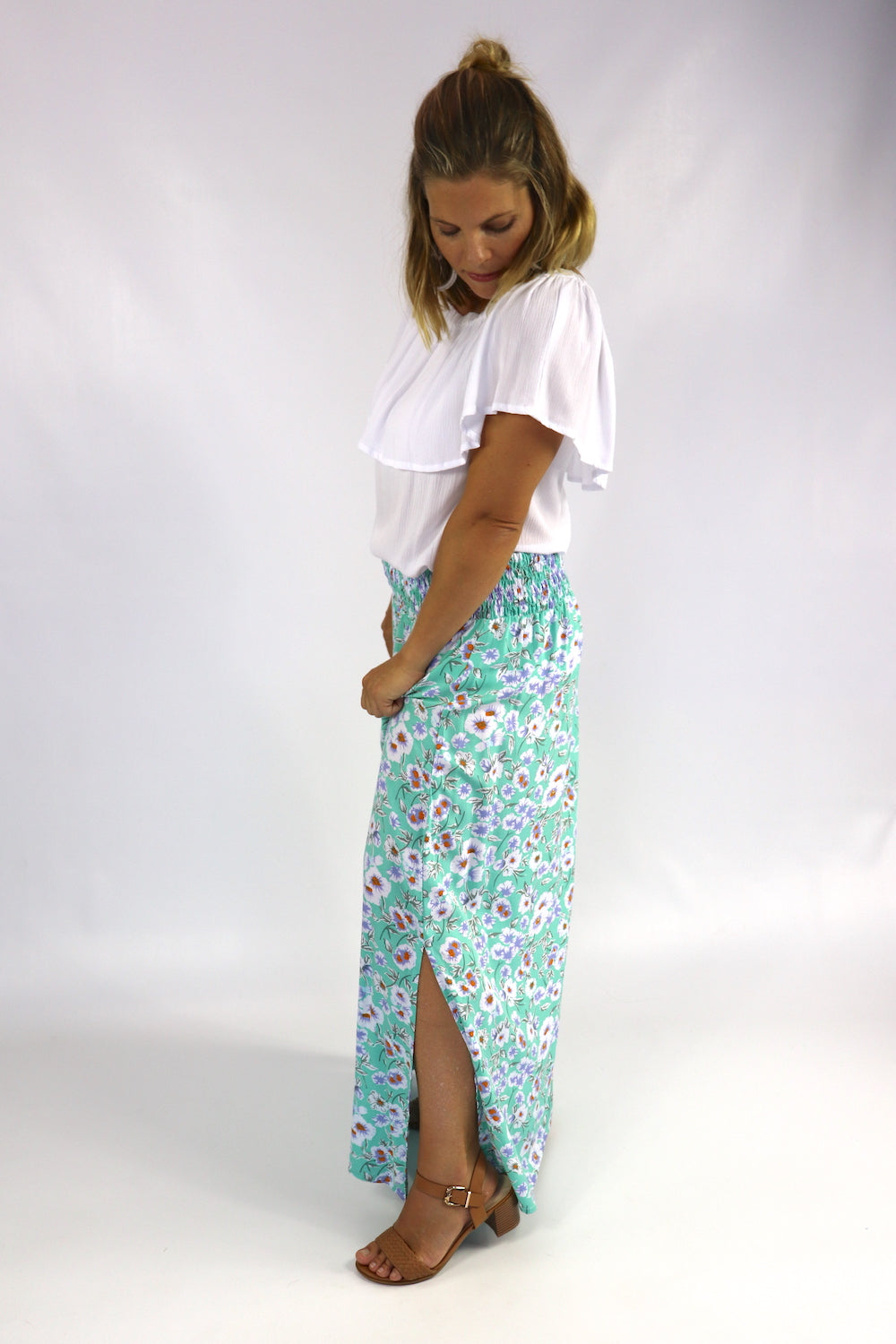 Merci Maxi Skirt In Aqua Poppy
