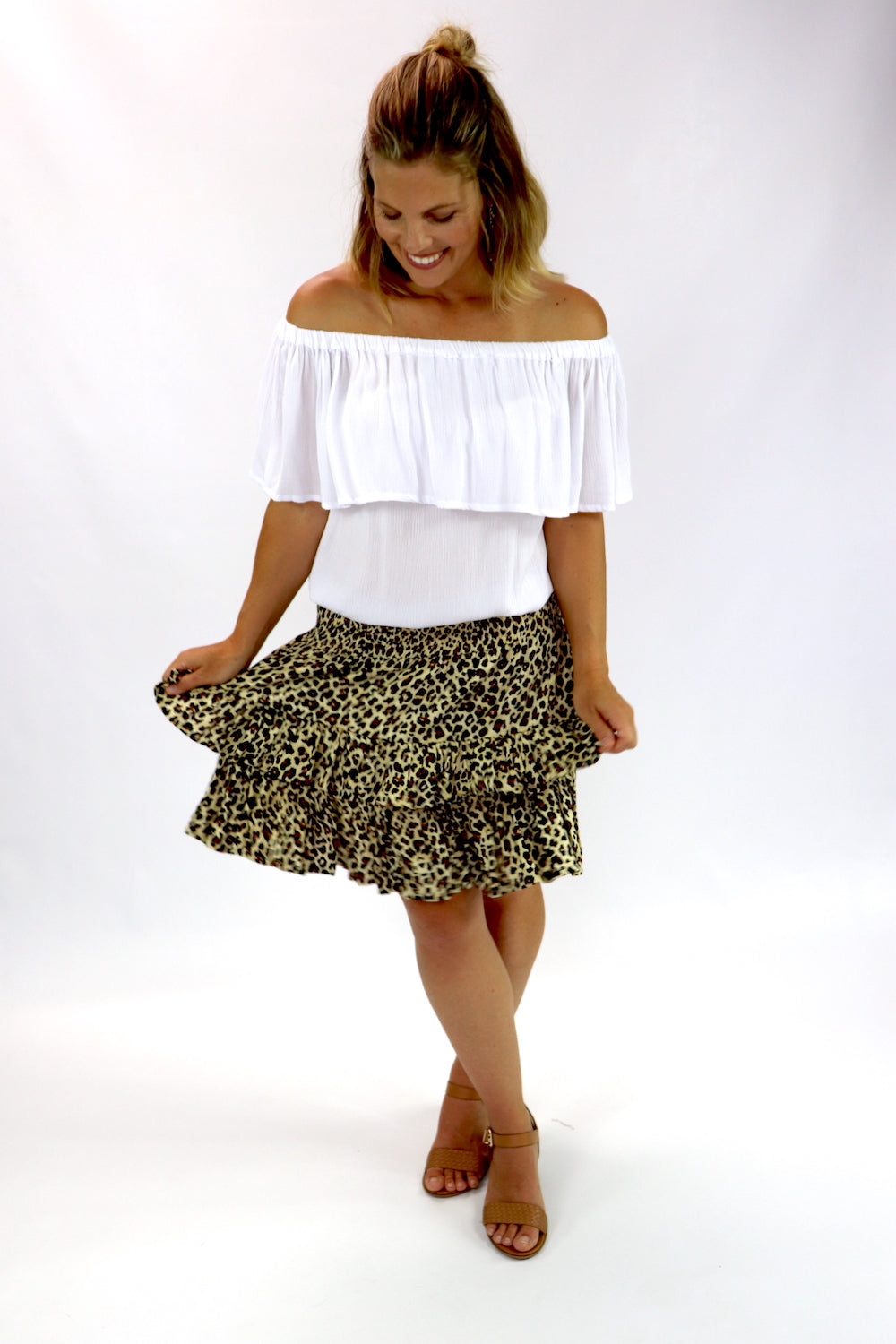Ripple Effect Mini Skirt In Brown Leopard