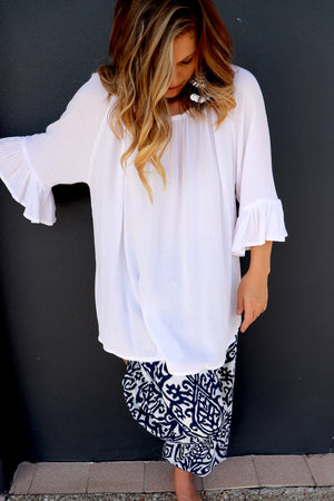 Courtney Long Sleeve Top In White