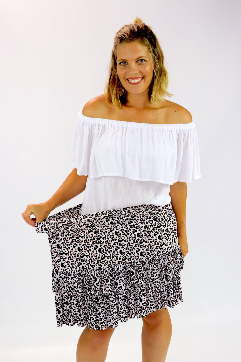 Ripple Effect Mini Skirt In Pink Leopard