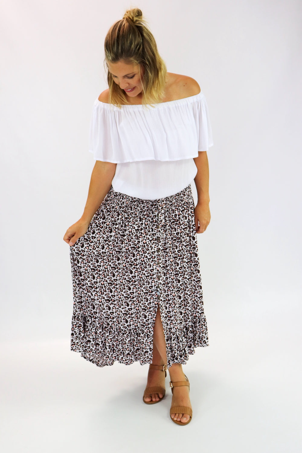 Long Bohemian Skirt In Pink Leopard