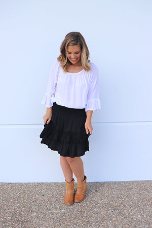 Ripple Effect Mini Skirt In Black
