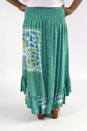 Long Bohemian Skirt In Blue Garden