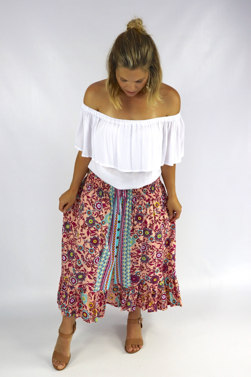 Long Bohemian Skirt In Botanical