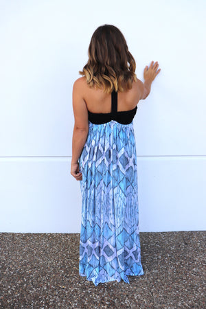 T Bar Maxi In Blue Diamonds