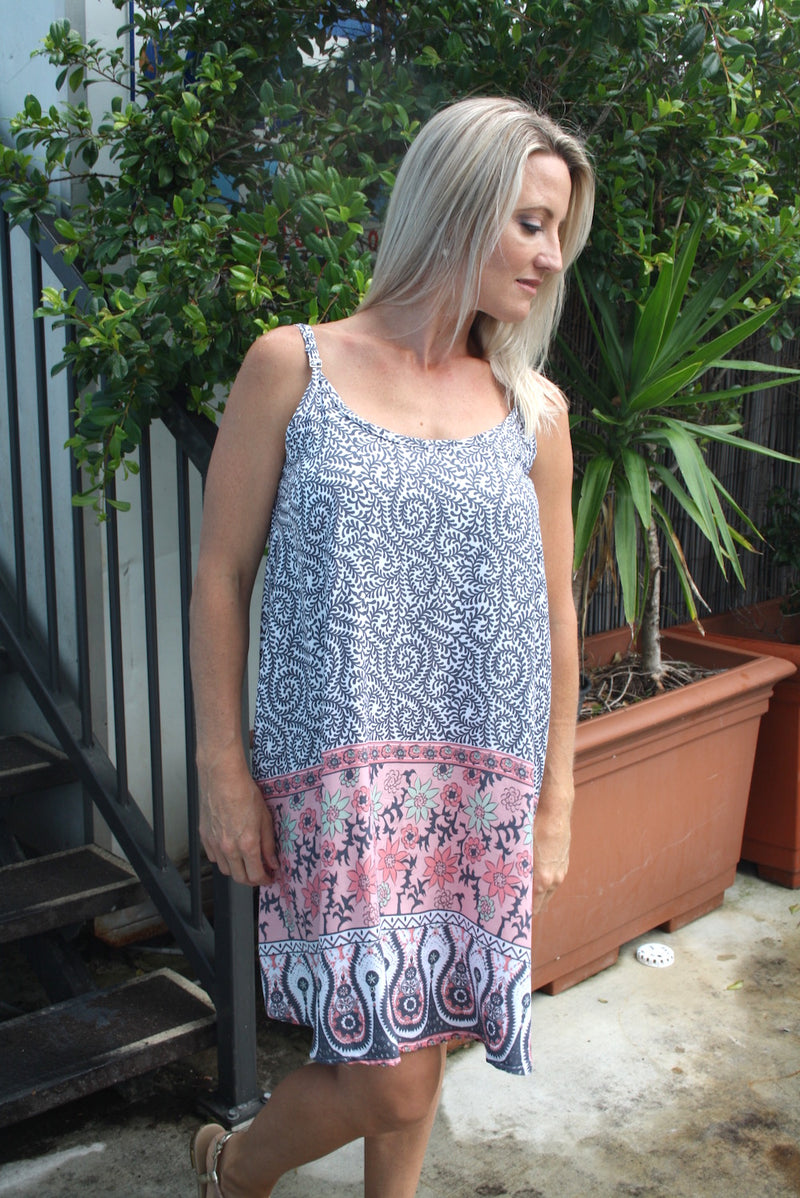 The Short Beach Dress in Grey Fern
