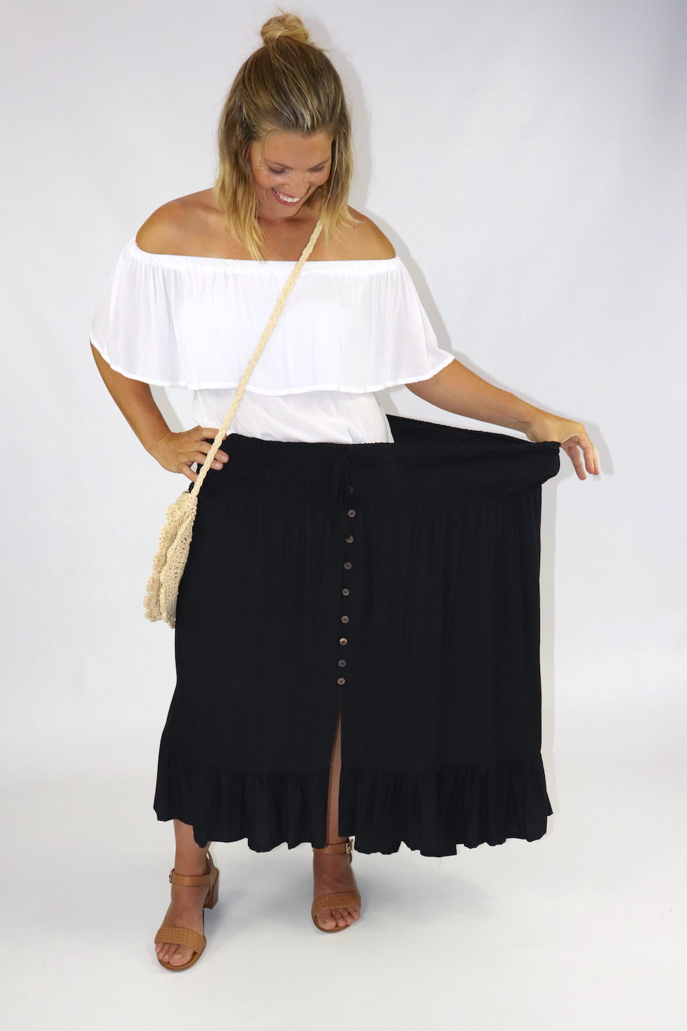 Long Bohemian Skirt In Black
