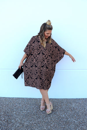 RO Tropicana Dress In Chandler Choc/Black