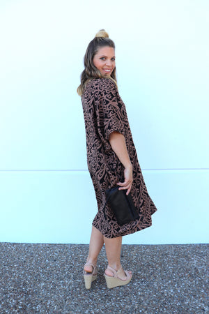 Tropicana Short Dress In Chandler Choc/Black