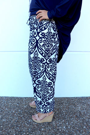 Chandler Harem Pant In Navy/Icecream