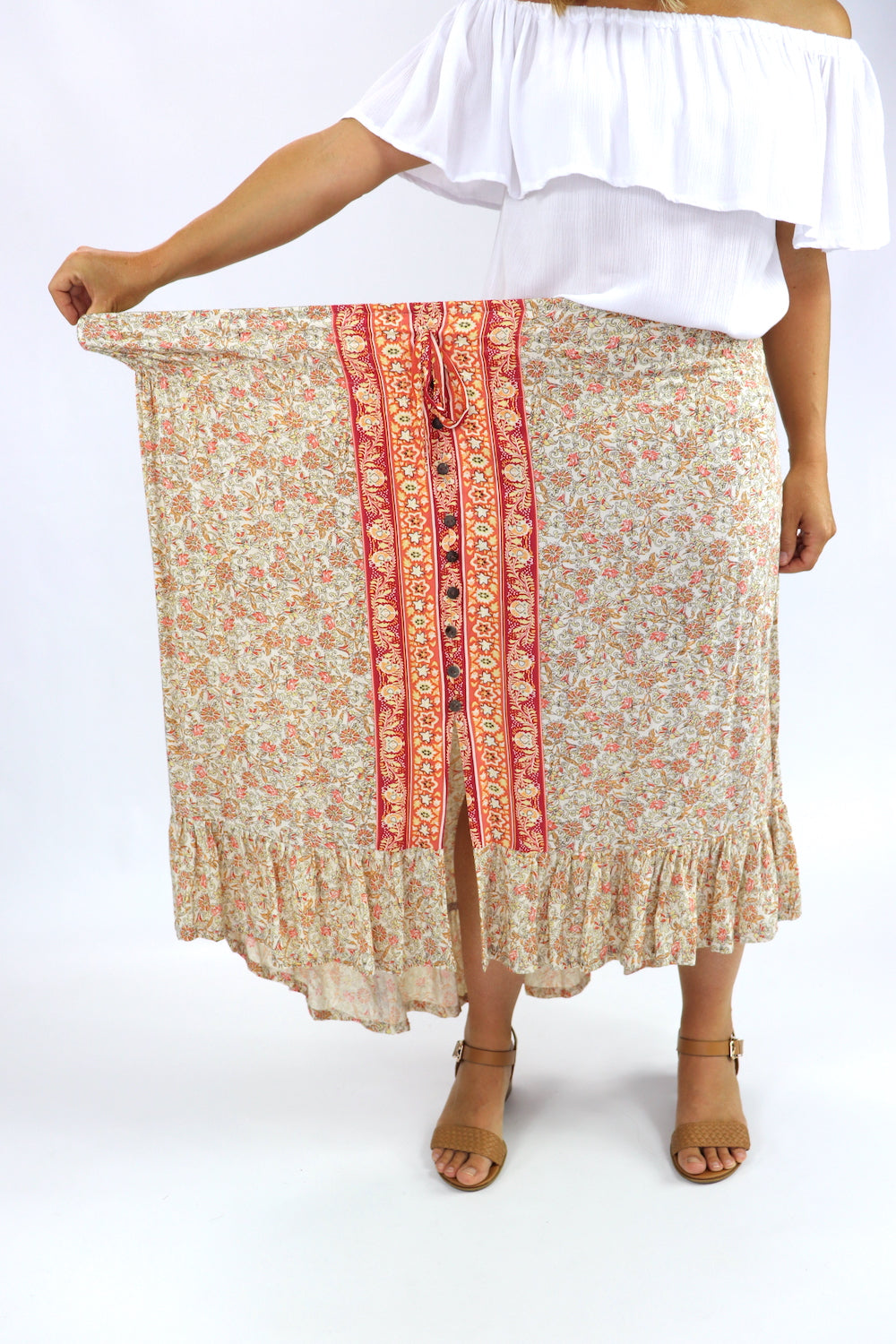 Long Bohemian Skirt In Vintage Flower