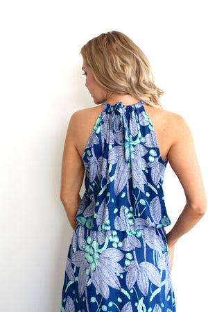 Off To Hawaii Halter Maxi Dress In Kiwi Blue