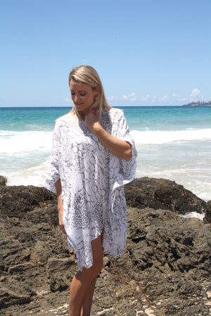 Short Tunic Safari Grey & White