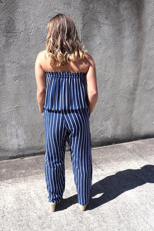 Living It Up Long Jumpsuit In Nautica