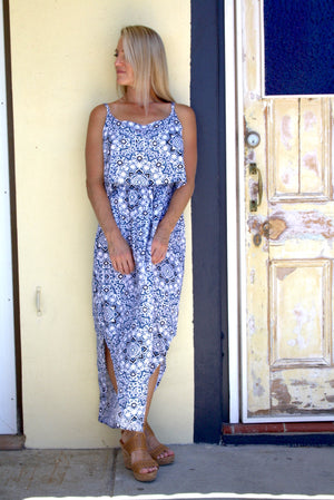 Byron Dress In Blue Flower