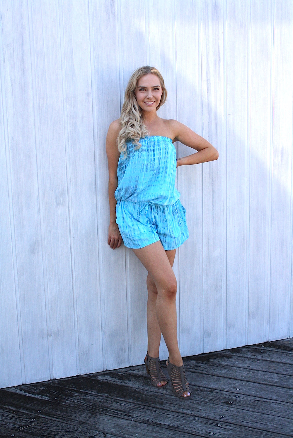 Maldives Jumpsuit - Teardrop Bright Blue