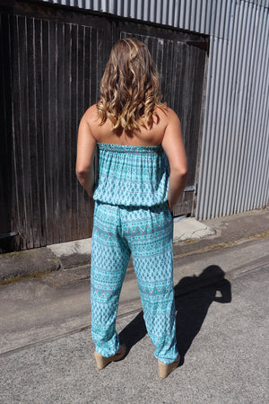 Living It Up Jumpsuit In Aquamarine