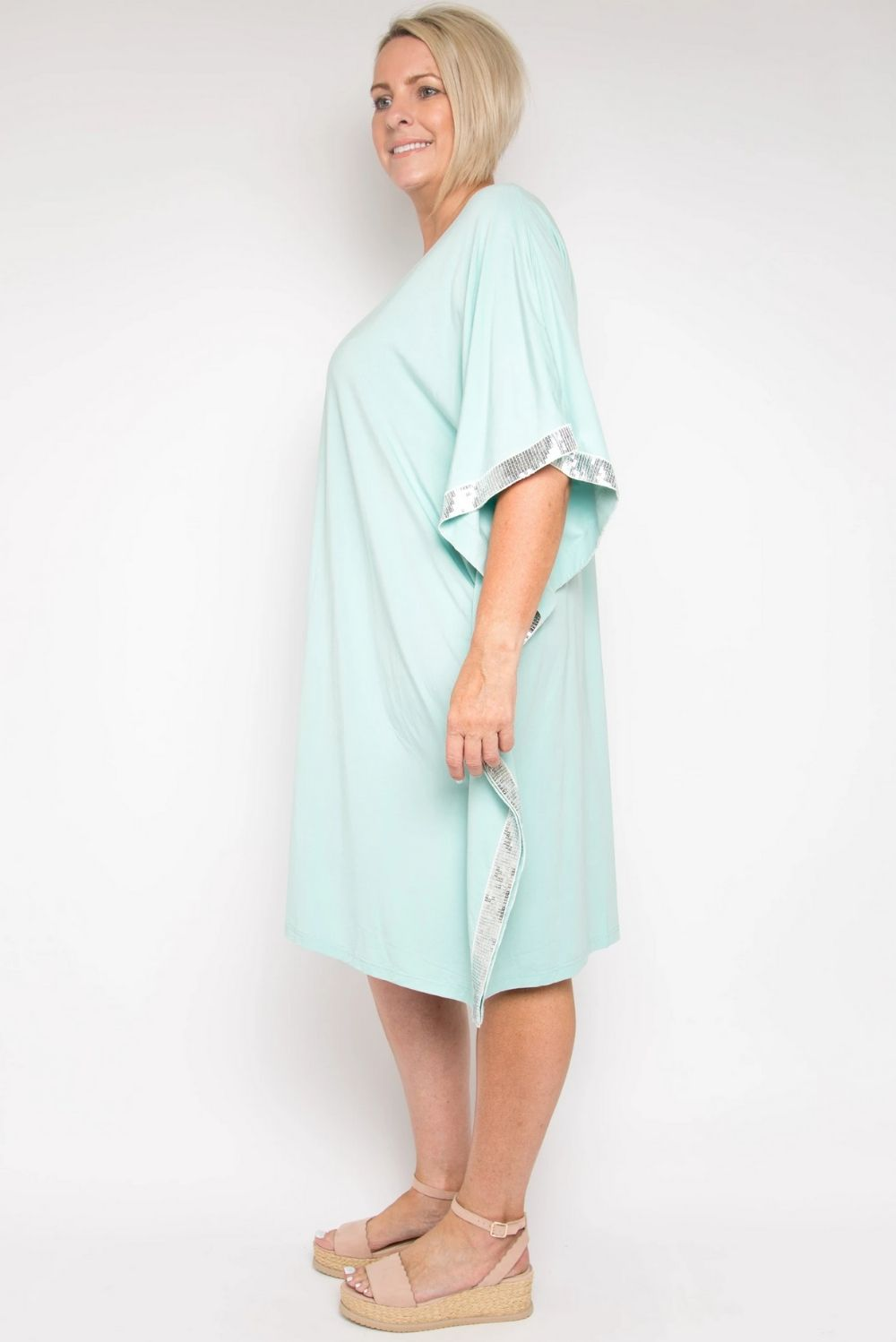 RO Pool Side Bling Short Kaftan In Bamboo Mint