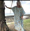 Long Kaftan - Blue/Taupe
