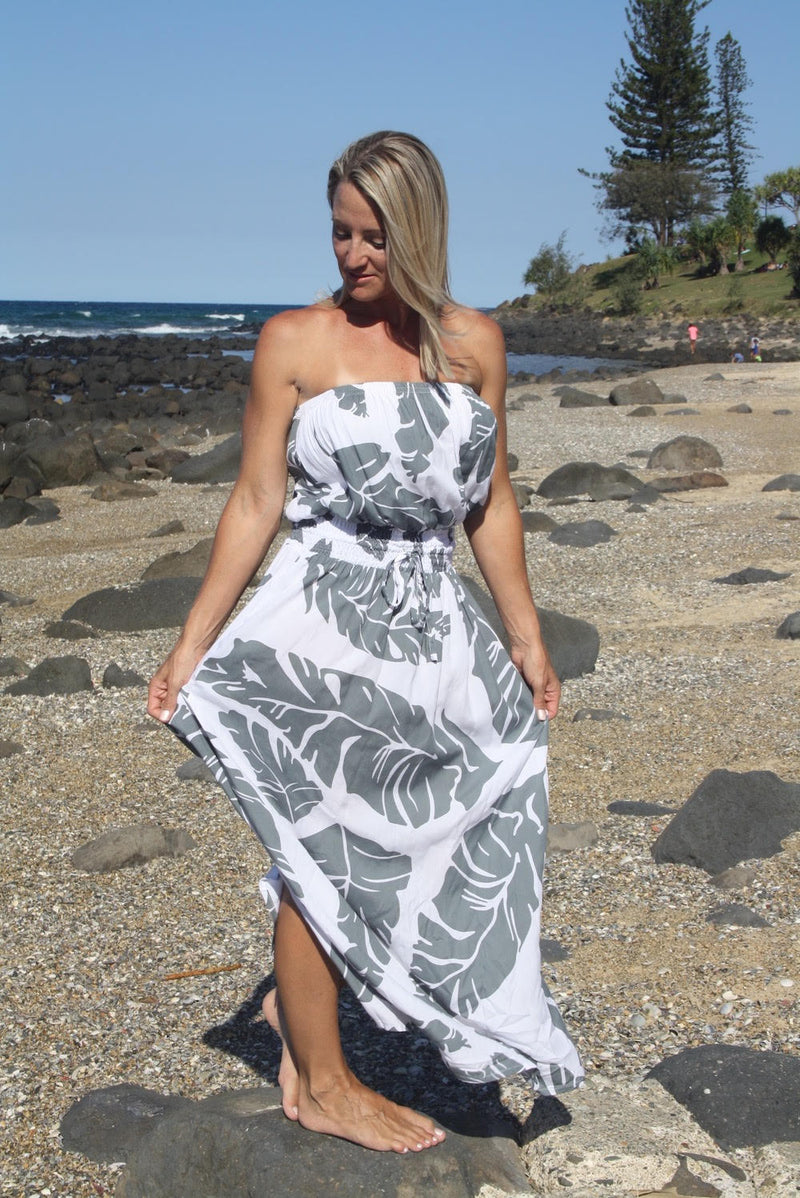 Daytripper Tube Maxi Dress in Grey Leaf